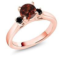 Gem Stone King 1.24カラット 天然 ガーネット 天然ブラックダイヤモンド シルバー925 ピンクゴールドコーティング 指輪 リング
