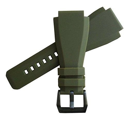 「ベル&ロス(Bell&Ross)向け」輸入王オリジナル BR01,BR03用 ラバーベルト 社外品 グリーン 24mm