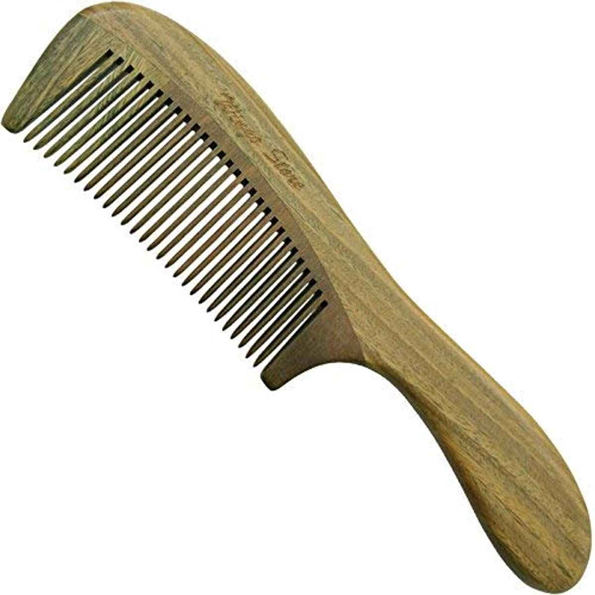 二所得飲食店Wingostore Wood Hair Comb Handmade (Handle-Green Sandlewood) [並行輸入品]
