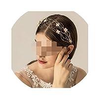 レディース繊細なエレガントなヘアアクセサリーブライダル結婚式パールヘッドピースクラウン女性のガールファッションフラワー髪バインズヘアバンド