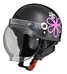 リード工業 バイクヘルメット ジェット CROSS バブルシールド付きハーフヘルメット ブラック フラワー フリーサイズ 57-60cm未満 CR-760