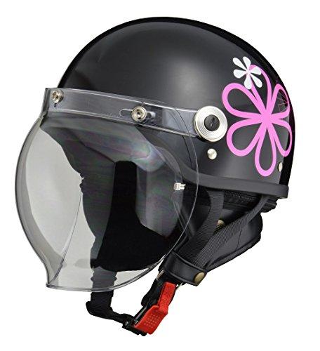 リード工業 バイクヘルメット ジェット CROSS バブルシールド付きハーフヘルメット ブラック フラワー CR-7...