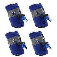 B Blesiya 犬用靴 ドッグシューズ お散歩 アウトドア 滑り止め 肉球保護 柔らかく暖かい 4個 全2サイズ - ブルー, L