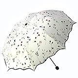 Bidason 日傘 晴雨兼用 折り畳み傘 レディース 花柄 傘 遮光 紫外線カット 遮熱 撥水加工 おしゃれ 折りたたみ傘 収納ポーチ付き 白