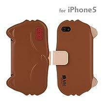 docomo au SoftBank iPhone5 iPhone5S 対応 kiki ダイアリー ケース カバー ジャケット (キャメル)