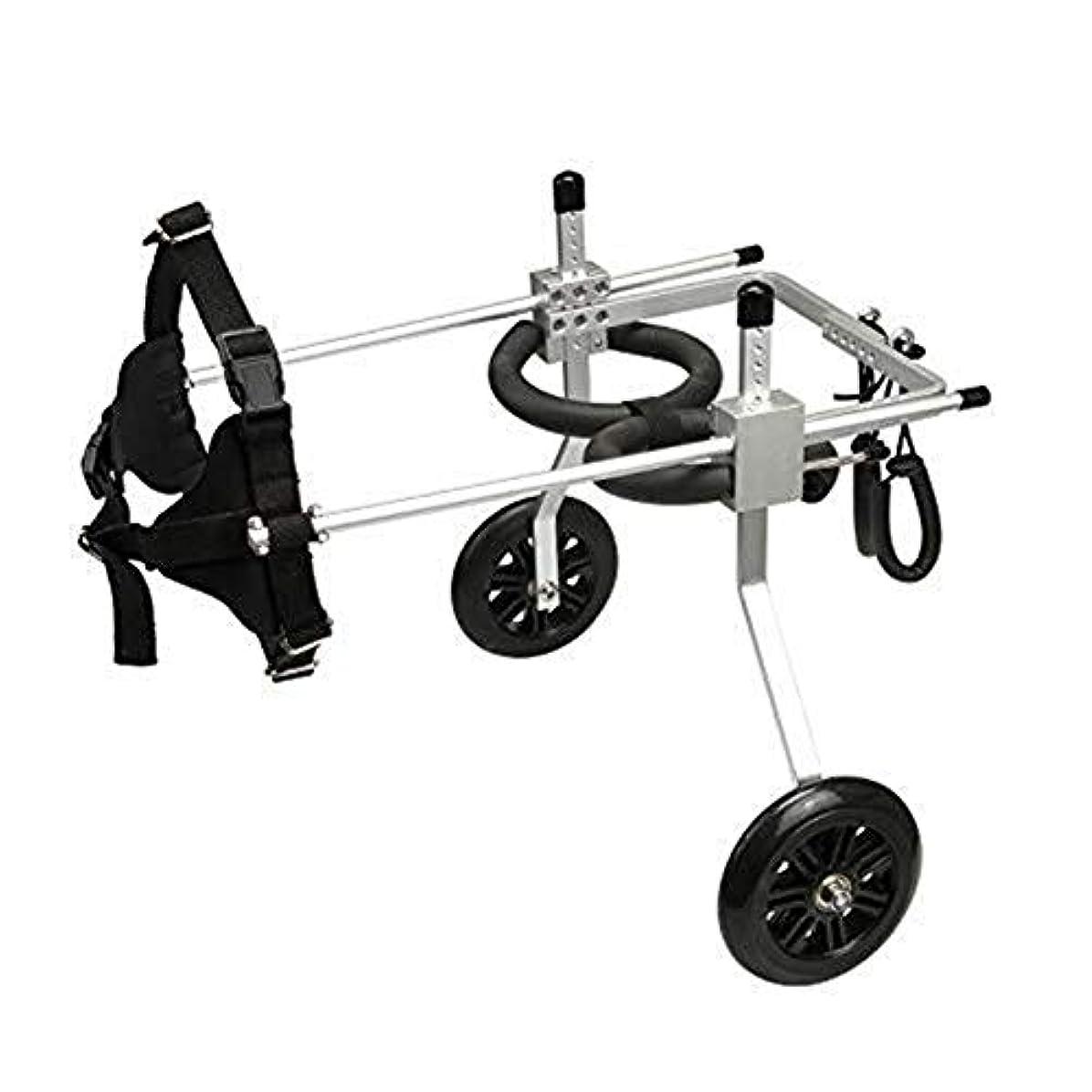 強調なにリビジョンIVHJLP 小型犬用ステンレス鋼カートペット/猫犬車椅子後肢リハビリテーション障害犬用、2輪