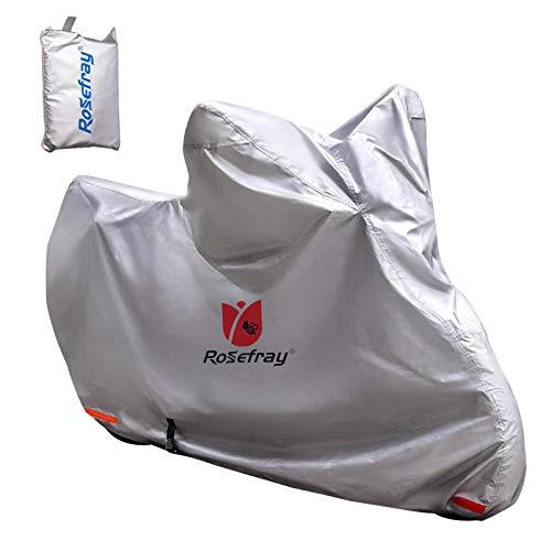 Rosefray バイクカバー 210D 厚手 M-L 209cmまで対応 スマートサイズ 高機能 撥水 UVカット 大型 車体カバー 風飛び防止 鍵穴付 収納袋付き