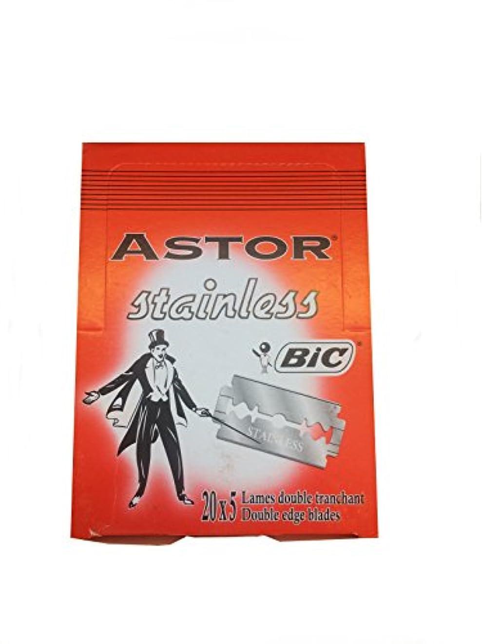 ジーンズラダ水族館BIC Astor Stainless 両刃替刃 100枚入り(5枚入り20 個セット)【並行輸入品】