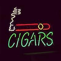 """LIQI Cigars RealガラスネオンライトサインホームビールバーパブRecreation Room Game Room Windowsガレージ壁記号( 17"""" × 14"""" Large )"""