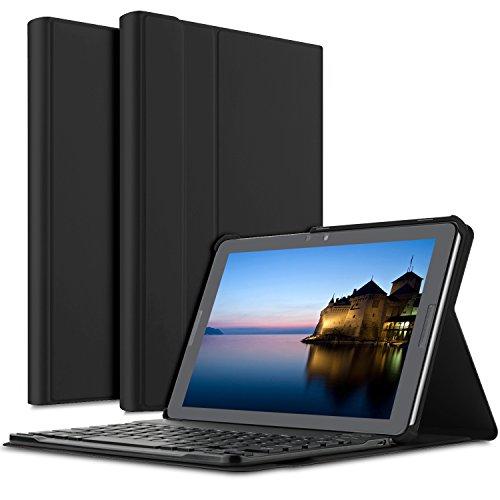 ELTD ipad pro 10.5 ケース, ipad pro 10.5 キーボードカバー PUレザーケースマグネット 角度調整スタンド機能 タッチペンホルダー 熱処理カバー ipad 10.5インチキーボード付きケース  脱着式 手帳型  最軽量 全面保護型(ブラック)