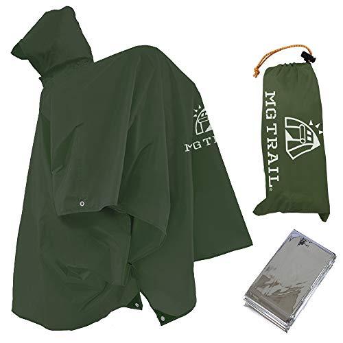 ポンチョタープ【MG TRAIL】軽量レインコート登山雨具ビバーク防寒シート付 (廉価版)(ダークグリーン)