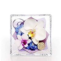 ボトルフラワー 森のグラスブーケ スクエア 11x11x6cm 洋蘭 生花をドライ加工 プリザ 色がシック お供え などにも 最大5年美しい花姿 宮Y D