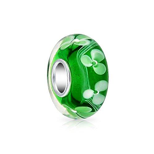 [해외][브링 보석] Bling Jewelry 녹색 흰색 꽃 무늬 유럽식 매력 구슬 무라노 유리 베네치아 유리 스털링 실버 SILVER 925 가져 오기/[Bring Jewelry] Bling Jewelry Green White Floral Pattern European Style Charm Beads Murano Glass Venetian Glass...