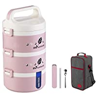 保温弁当箱 お弁当 多層 大容量 保温食箱桶 ランチボックス ステンレスランチジャー 食事箱 持ち運びが簡単 学校 ピクニックキャンプ (Color : Pink, Size : 3 layer)