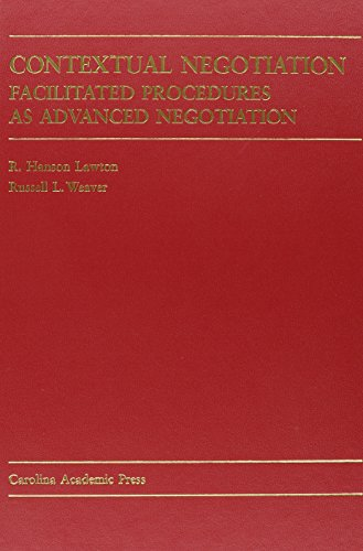 Download Contextual Negotiation: Facilitated Procedures As Advanced Negotiation 0890893365
