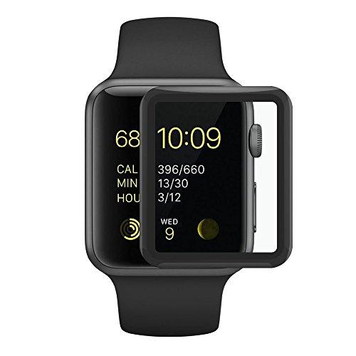 SUPTMAX Apple Watch フィルム 42mm Series 2 Series 1 アップル ウォッチ カバー 日本製素材使用 apple watch ガラスフィルム全面 (42mm, ブラック)