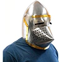 Medievalルネッサンス取り外し可能バイザーBarbute 16 Guage FunctionalヘルメットArmor