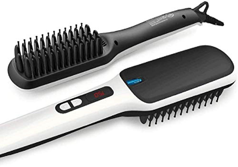 アンカー広告する明るいストレートヘアアイロン/カーラー ストレートヘアブラシ2イン1のイオンストレートブラシアンチ火傷機能オートOFFアーティファクトデジタル表示ストレートヘアくし付き