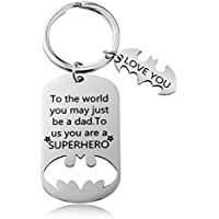 Father's Day Gift - Dad Gifts from Daughter Son for Birthday Christmas, To The World You May Just Be a Dad, To Us You Are a Superhero Keychain, Dad Valentine's Day Gifts, Father Daughter Gifts