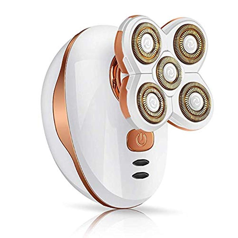 5フローティングヘッドウェットドライ電気ロータリーシェーバー、コードレス防水かみそりはげ頭シェーバー、旅行や家庭用の高速USB再充電セキュリティロックモード
