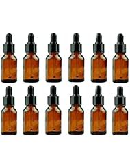 12 Amber 15 ml (1/2 oz) Glass Bottles Essential Oil Bottles Jars Refillable Makeup Cosmetic Sample Bottle Container...