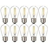 KLED 10 Pack LED Vintage Edison Bulb, Dimmable, S14 2W (20W Equivalent), LED Filament Bulb, 150 Lumen, 2700K (Warm White), Ba