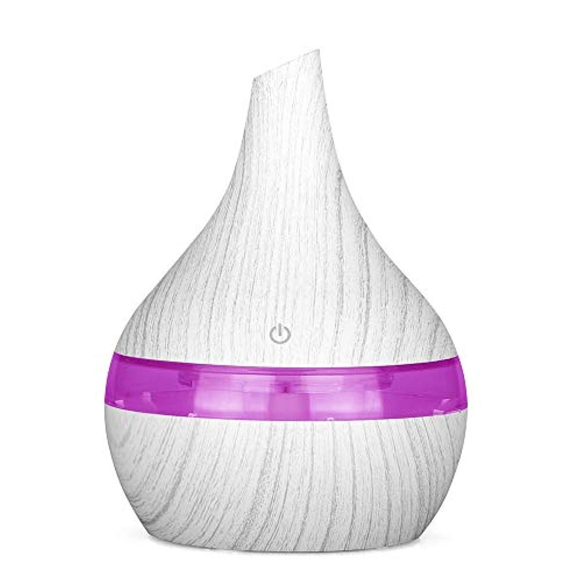 寛容な配る流すエッセンシャルオイルディフューザー300ミリリットル木目ディフューザーミストアロマ加湿器7色LEDのホームオフィスのベッドルームを変更するクール (Color : E, Size : 12×12×16)