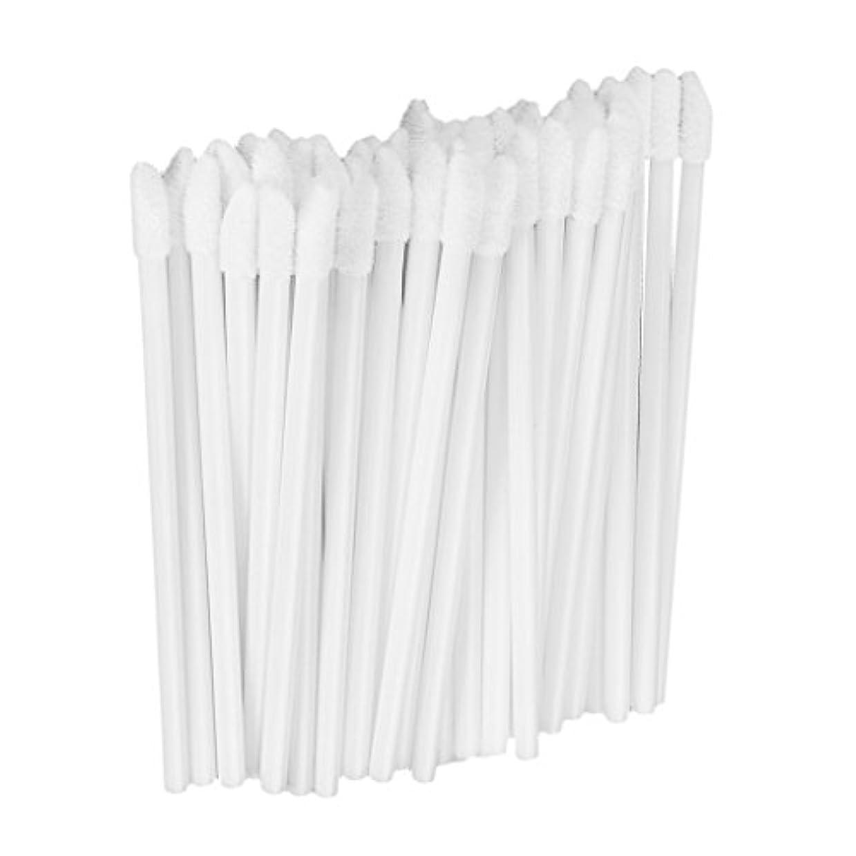 教室質素な怒っている約50本 メイクアップブラシ リップスティックブラシ 使い捨て リップブラシ リップワンド メイク道具 5色選べる - 白