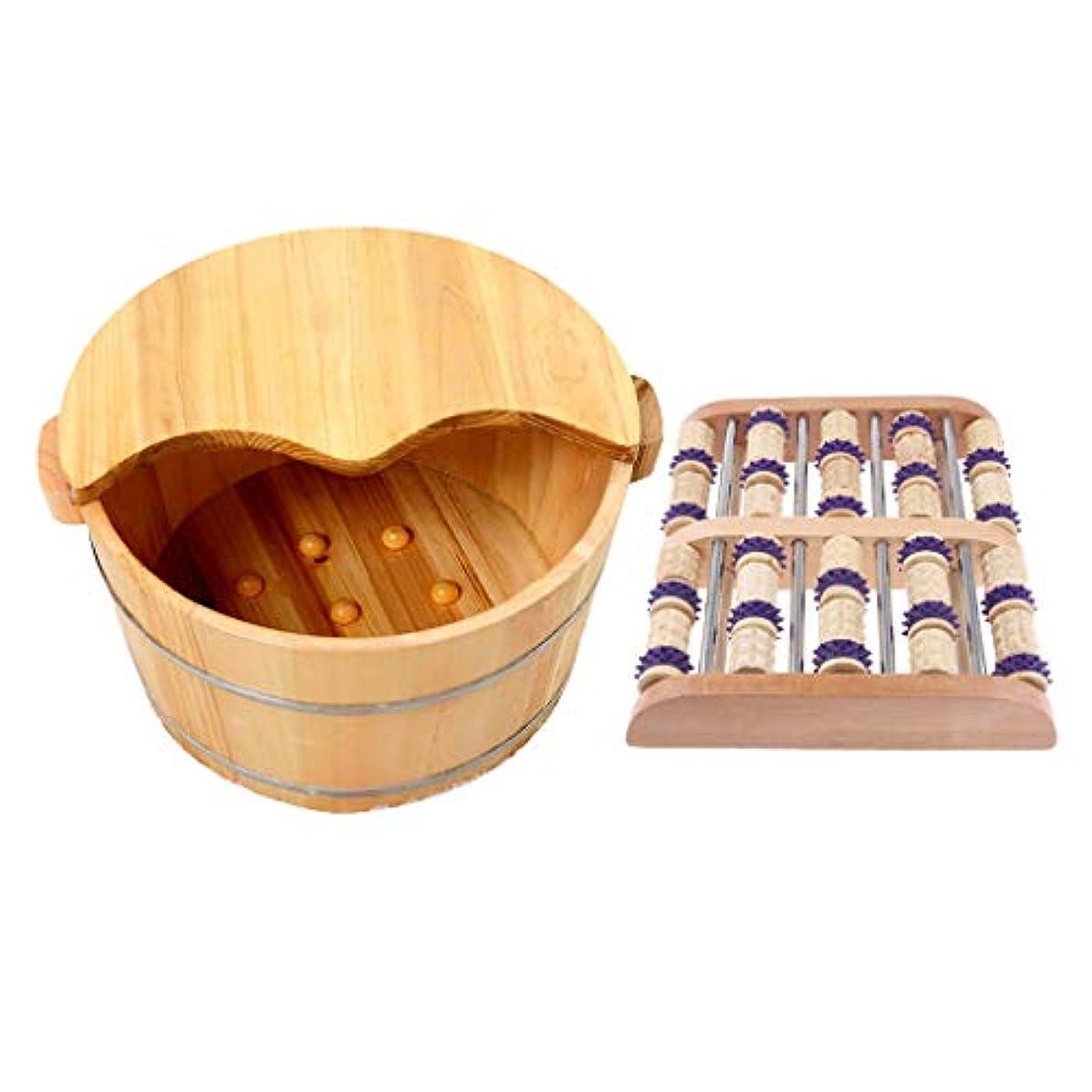 gazechimp 足つぼ マット マッサージフット 手作りウッド タイトステッチ 足裏 ツボ押健康木製の足の洗面台付き