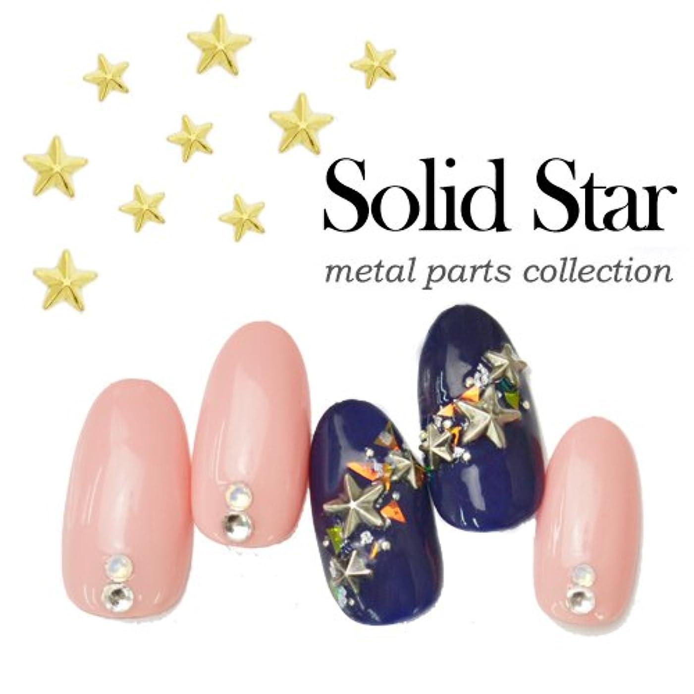 儀式描く晴れ[シルバー/Mサイズ] 5個入ソリッドスターメタルネイルパーツ 星 立体