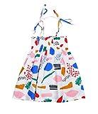 杜屋トヤ 子供服 夏の女の赤ちゃんのかわいいノースリーブプリンセスドレス 子供プリントワンピース ガールズスカート 洋式夏服 5サイズ (80, 白)