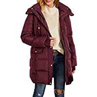 Misassy Womens Hooded Thickened Long Down Jacket Winter Parka Puffer Jackets Zip Up Button Warm Coats with Pockets