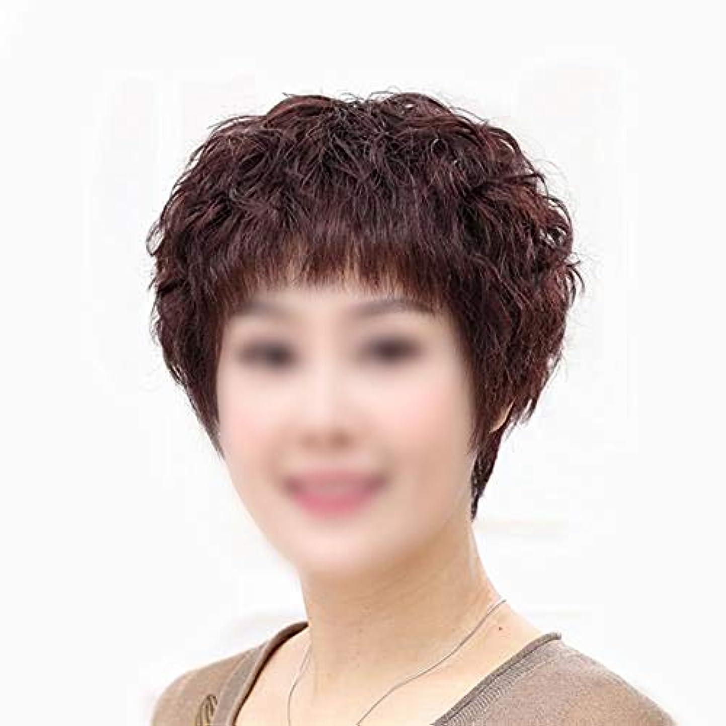 小さい避ける息子YOUQIU 本当の髪ショートカーリーヘアふわふわナチュラル女性中年の母親ウィッグウィッグ (色 : Dark brown)