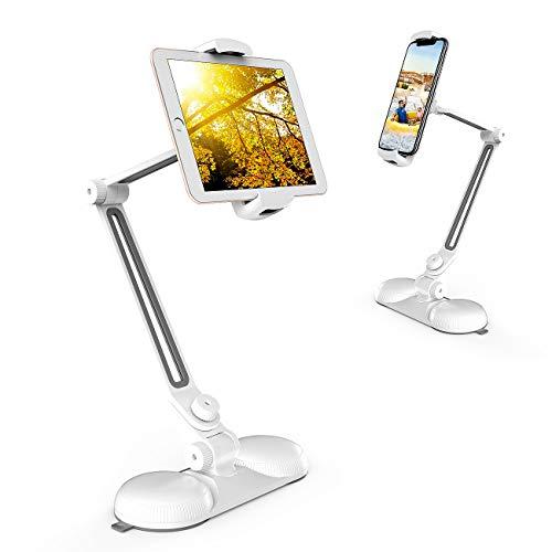 JOPREE スマホ&タブレット スタンド 360°角度調整可能 iphone スタンド 卓上 4~10インチに対応 多機種 アーム 折りたたみ ダブル吸盤