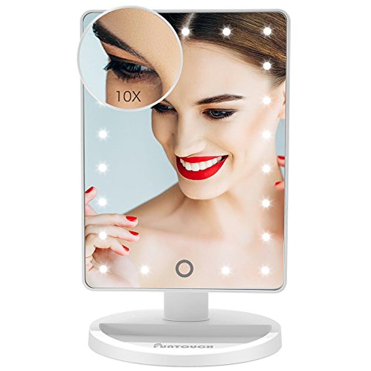 システム現象翻訳者化粧鏡 卓上鏡 化粧ミラー 鏡 女優ミラー 卓上 21 led 拡大鏡 10倍 明るさ調節可能 180°回転 電池給電(White)