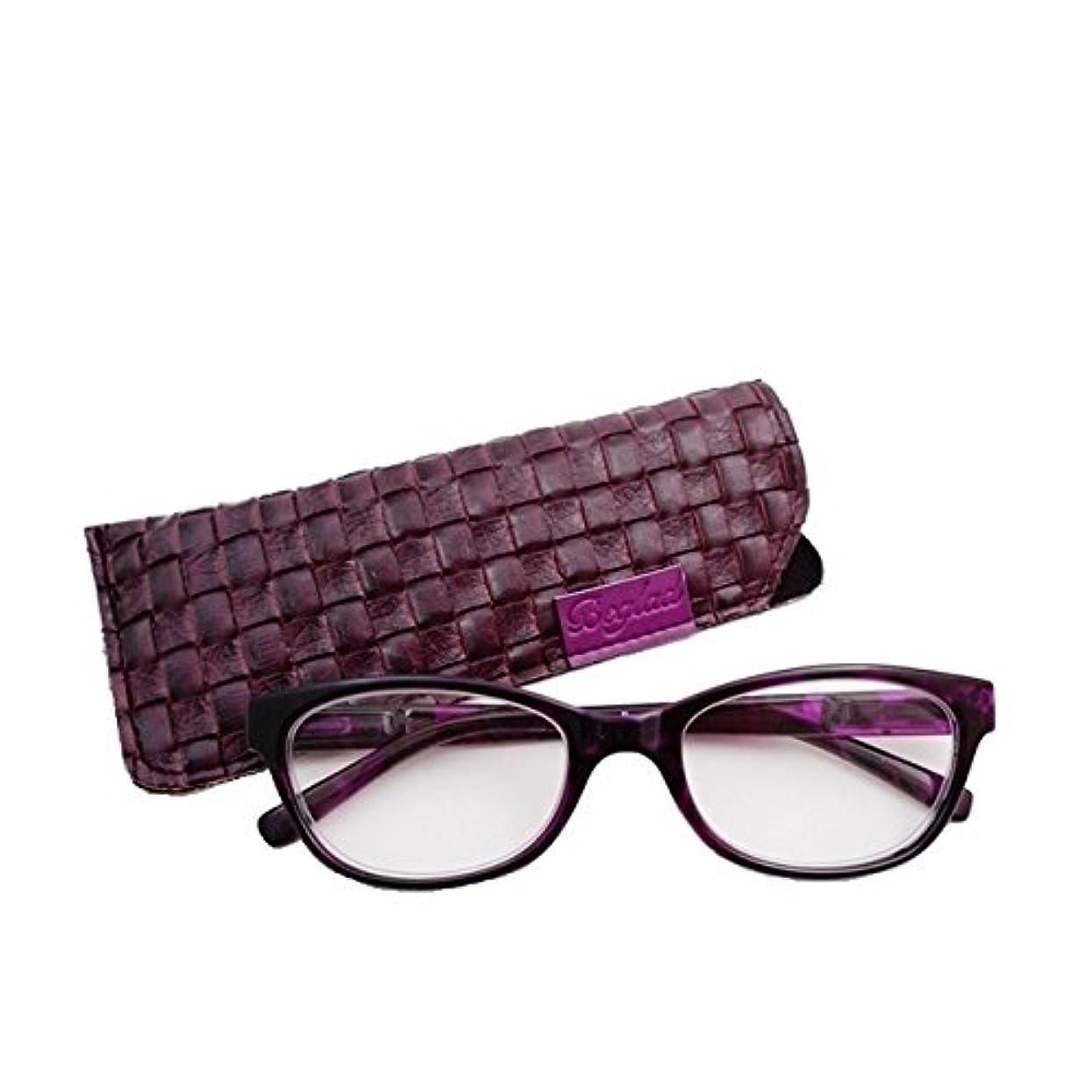 ビグラッド(BEGLAD) 老眼鏡 パープル 度数:+1.00 おしゃれなケース付 小さめサイズ BGT1011DPL
