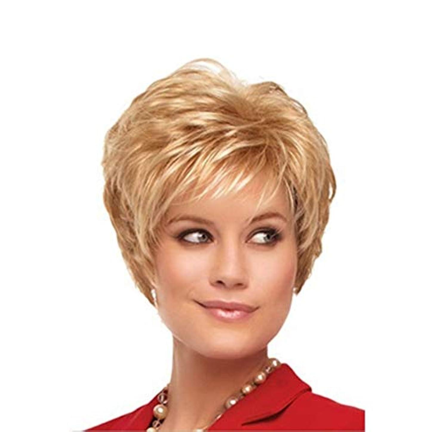 あなたが良くなります批判的従順なWASAIO レディースショートウィッグサマースタイルフルウェーブカーリー (色 : Blonde)