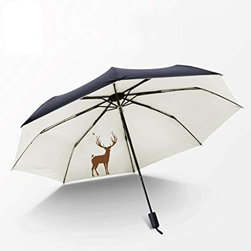 ブーストグリル作成するZEZHOU シンプル、小さい新鮮な傘、折りたたみ式、防風性、防雨性、日焼け止め、UPF値50+(漫画鹿) (色 : Wild elk)