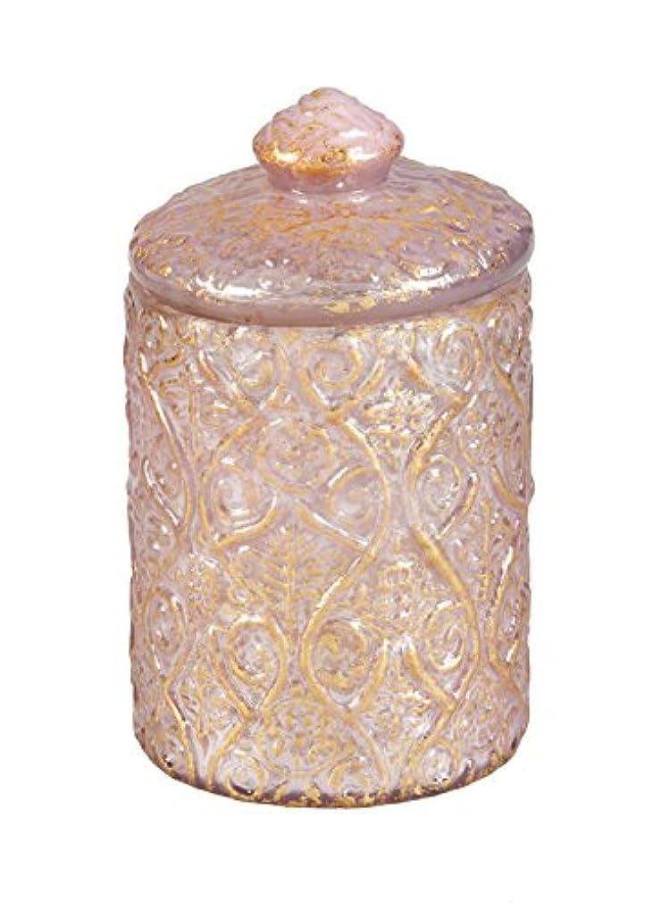 倒産バリア蛇行B. Boutique English Rose Pink and Gold Foil Embossed Jar Candle