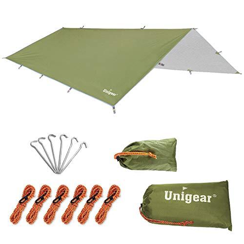 Unigear 防水タープ 軽量 日除け サンシェルター ポータブル 天幕 シェード キャンプ 収納ケース付 2-6人用 3サイズ (アーミーグリーン, XL:約300*400cm)