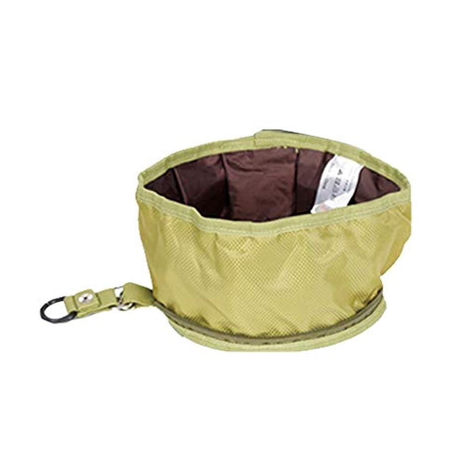高音ネイティブ予測ペットボウル 折りたたみ式 ペットボウル 防水 漏れ防止 持ち運び便利 猫 犬食器 給水器 給餌器 旅行用 (绿)