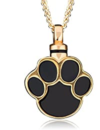 LuckyJewelry 金メッキ 黒色 犬の肉球 プリント 骨壺 ペンダント ネックレス 火葬灰 形見 思い出 ネックレス