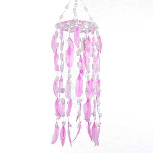 Pink Dream Catcher Mobile 8 x 22 with LED Fairy Lights Battery Operated Handmade for Nursery Wedding Girls Bedroom Baby Room Teepee Wall Decor Native American Boho Chic Hanging Ornaments