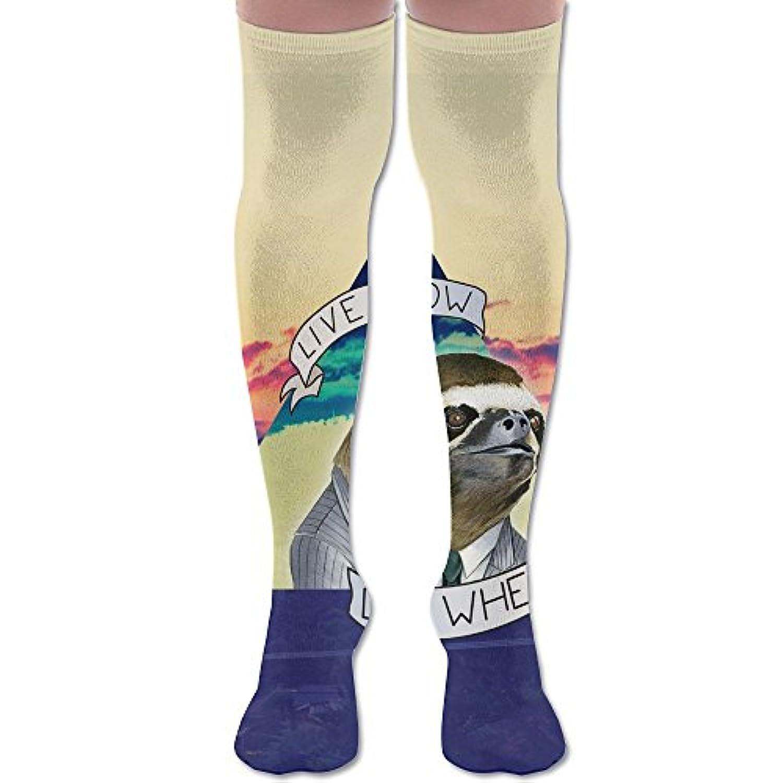 ソフト 65CM 靴下 オーバーニー ハイソックス ロングニーハイ 口ゴムゆったり ビジネスソックス ナマケモノ 3Dプリント 防寒 フットサポート付き フィットネス 美脚 脚長効果抜群 丈夫