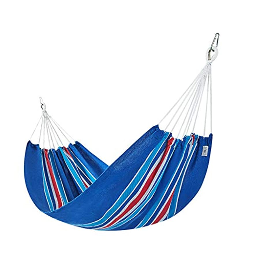 単調な分散ペイントアウトドアレジャーハンモックリフト厚手キャンバスドミトリールーム寝室キャンプスイング (Color : Blue, Size : S)