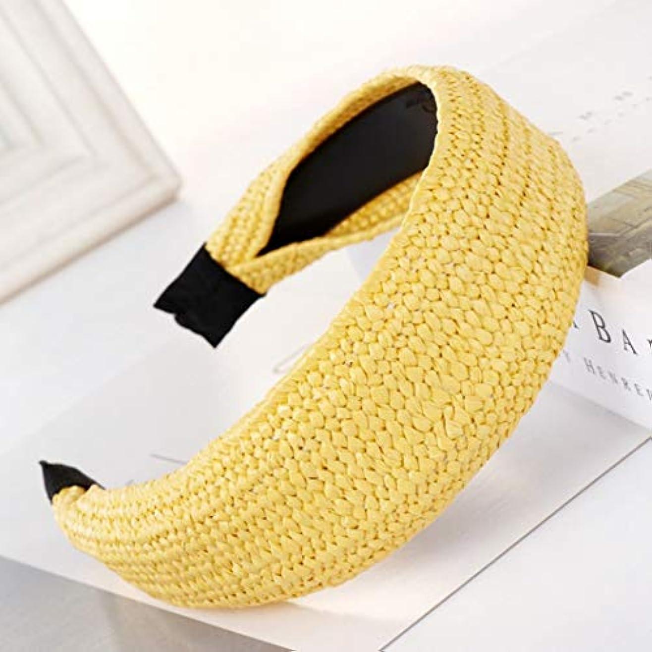 かご中開発Wadachikis ファッションわら織りヘアバンド結び目ヘッドバンドユニークヘアフープヘアアクセサリー(None 平板黄色)