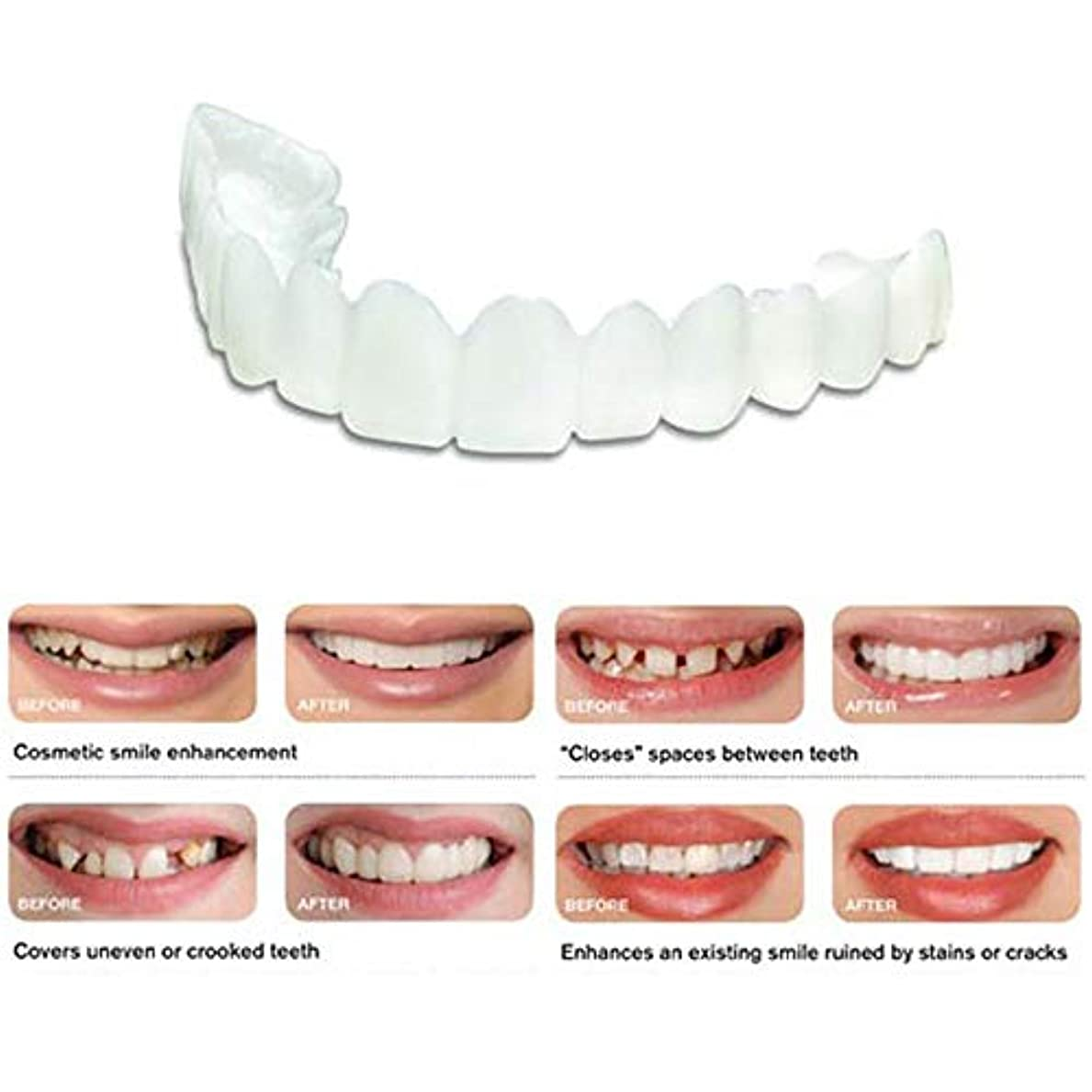 密度別の長椅子10個パーフェクトスマイルコンフォートフィット新しいスナップオンフレックスフィット最も快適な偽歯アッパーフェイクトゥースカバー