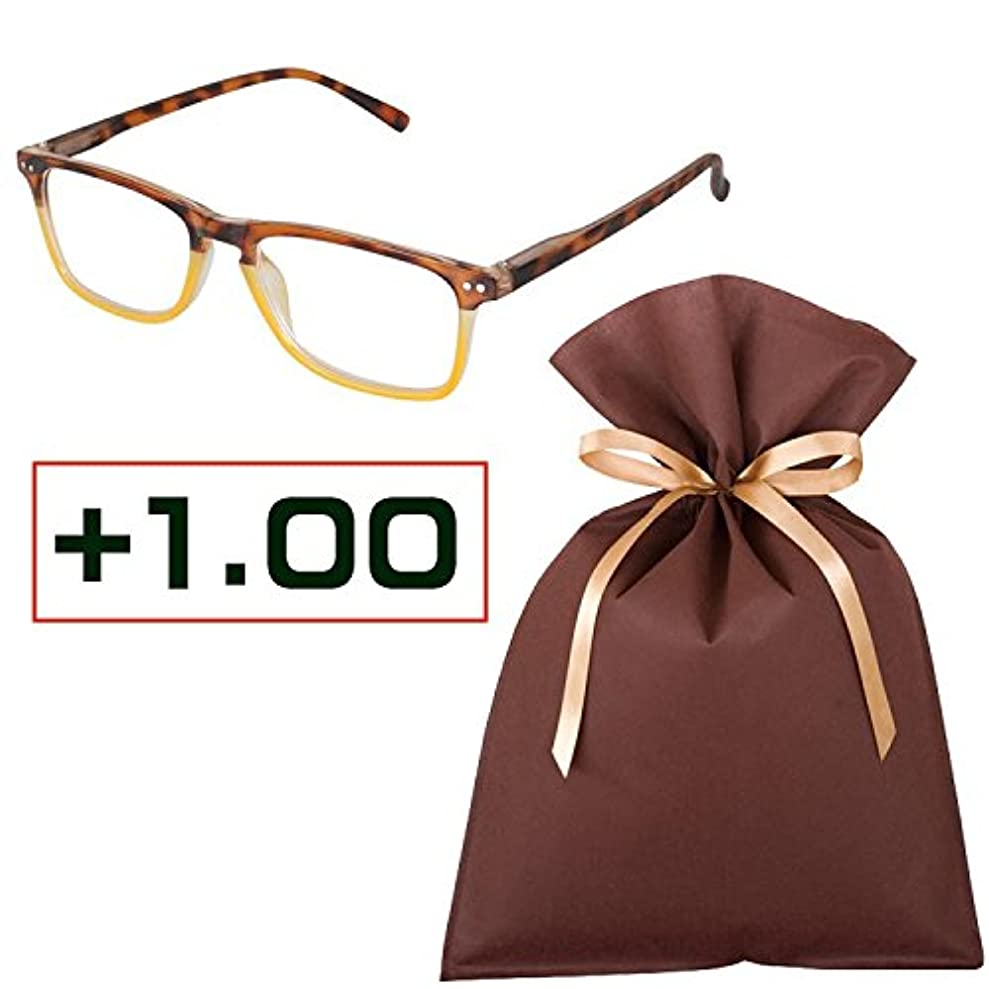 老眼鏡ギフトセット(+1.00)READING GLASSES YELLOW_TORTOISE 1.0