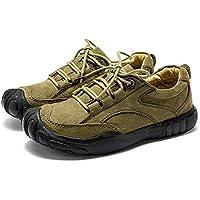 PANFU-AU Fashion Genuine Leather Comfortable Soft Vegan Anti-Slip Flat Lace Up Collision Avoidance Round Toe Hiking Athletic Shoes for Men