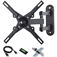 CATALYST Full Motion Tilt-Swivel-Rotation TV Wall Mount for 12'-27' Flat Screen TVs with 6' HDMI Cable, Cable Ties and Leveler [並行輸入品]